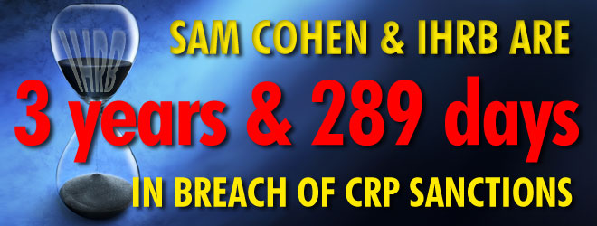 3 yrs 289 days in breach of CRP Sanctions IHRB