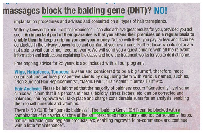 EXHIBIT : Another advertisement by IHRB, promising to block the balding gene.