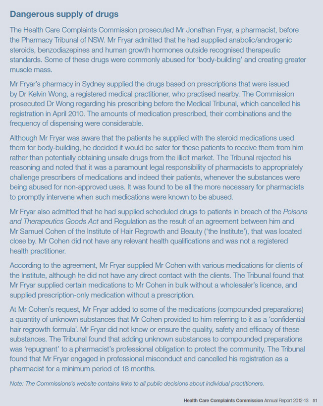 Page 51 of the HCCC Annual Report features Sam Cohen of IHRB and his pharmacist.