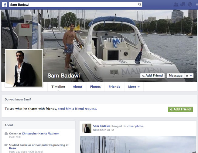 The Sam Badawi Facebook page shows Mr Badawi as the owner of Christopher Hanna Platinum.