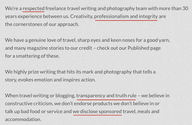 This is a screen-grab from Maree Azzopardi's travel blog site. I underlined some of the words that stood out for me.