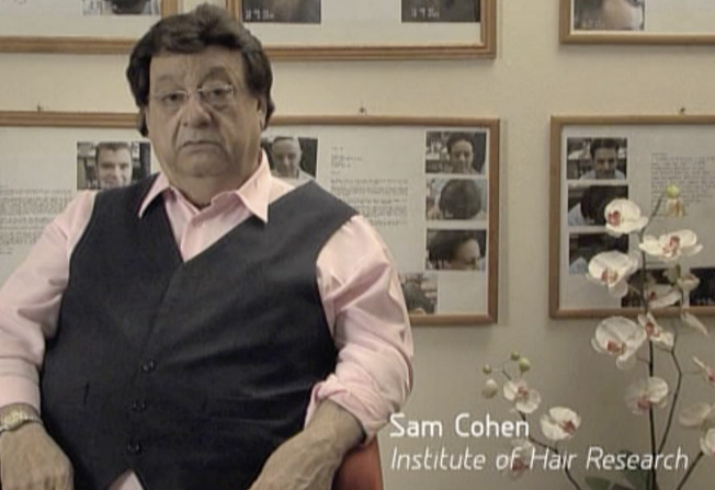 Notice that the company name at the bottom left corner says, 'Institute of Hair Research'. This is either a mistake by the production company, or a misleading statement by Mr Cohen, because he has no research facilities whatsoever, and has no qualifications in hair research. Besides, there is no such organisation by that name.