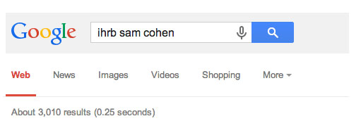 Google search for IHRB Saam Cohen returns 3010 results
