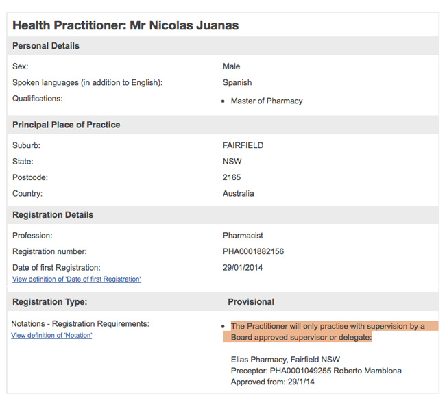 The Provisional registration for Mr Nicolas Juanas (the son of Mr Elias Juanas) note that supervision is required.
