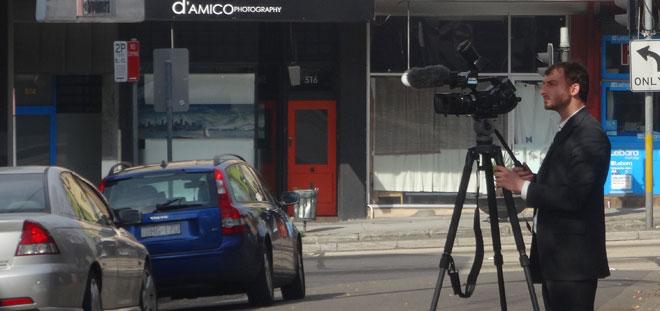 Benjamin Marks filming IHRB Doorstop DSC00377