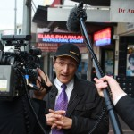Jonar Nader interviewed outside Elias Pharmacy in Fairfield. Click to enlarge.